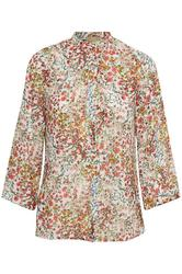 EDUCE - Kamma ls Bluse - Offwhite Blomster