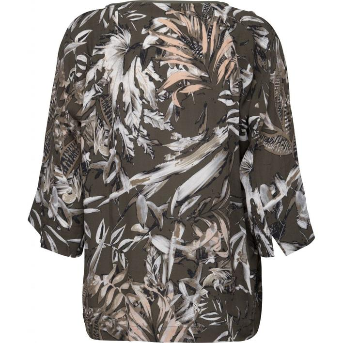 MINUS - ALICIA  BLUSE - ARMY BLOMSTERPRINTET BLUSE