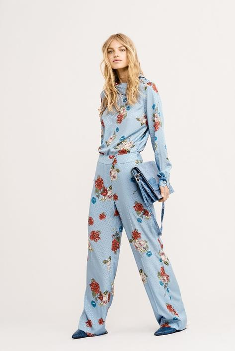 GESTUZ - Natacha pants - Light Blue Flower Print - Blå
