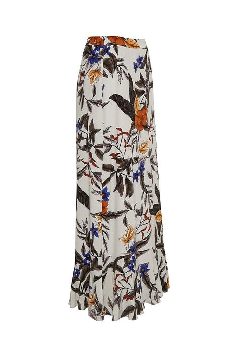 GESTUZ - Greye Long Nederdel - Grey Flower Print