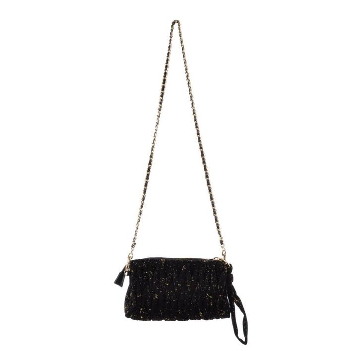SOFIE SCHNOOR - S184915 - CROSSBODY SMALL VELVET - Sort Glitter